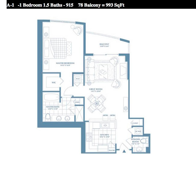 1 bedroom unit floor plan in DUO condo